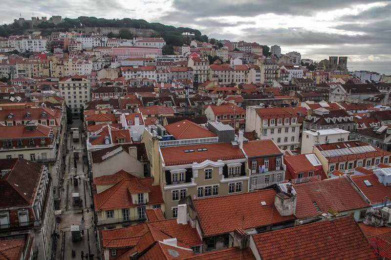 Facing view at Santa Justa Elevator Lisbon