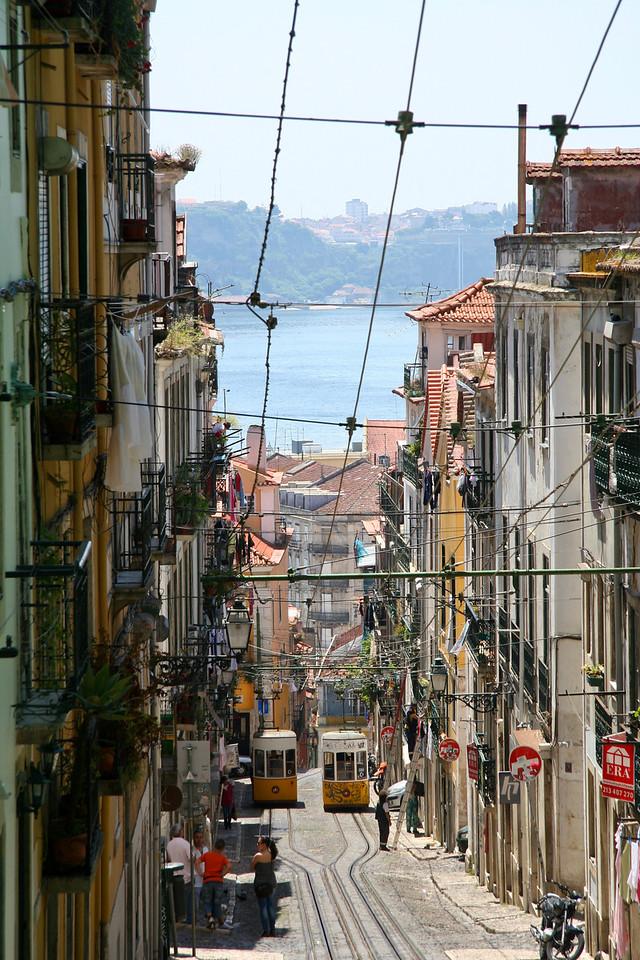 Beco da Bica (Bica alley) in Bairro Alto, Lisbon. The trams are slanted to specially climb the hill.