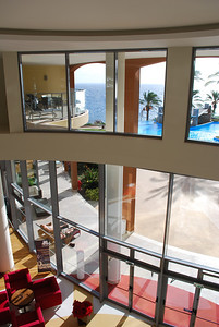 Pestana Promenade - view from second floor looking out to atrium, pool area.
