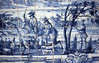 014  Oporto, Azuleos-afbeelding op eerste vewrdieping klooster