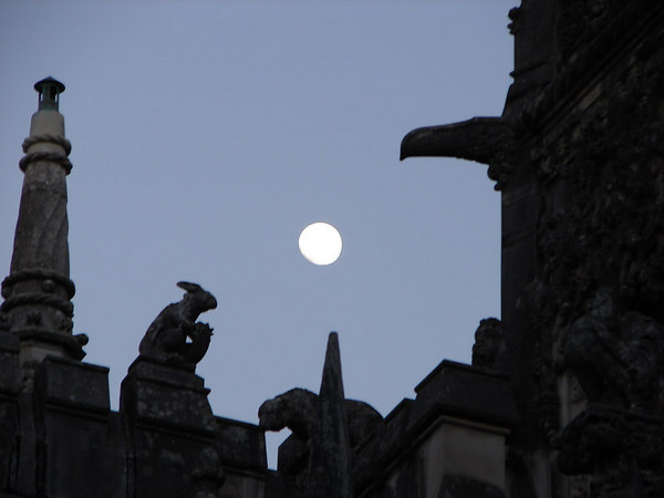 Gargoyle and the Moon.  On my way back to the Lisbon, I noticed this interesting position of the moon.
