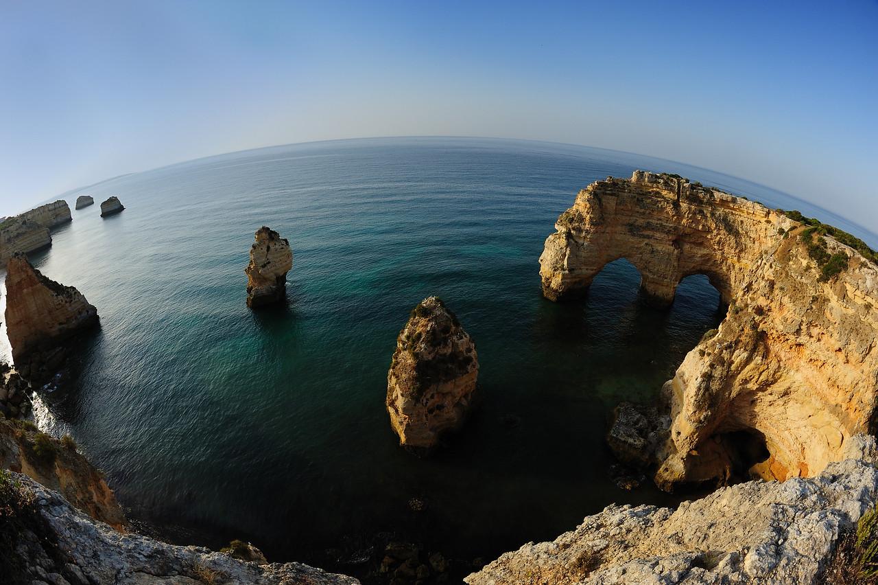Fisheye view of Marinha Beach in Algarve Portugal