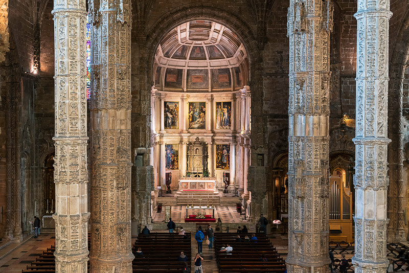 View of Church Santa Maria de Belém interior from the balcony.
