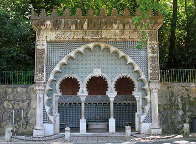 Fonte Mourisca (arab fountain), a drinking fountain named for its Neo-Moorish decorations, old Sintra.