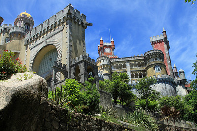Palacio da Pena, Sintra -Entrance arch and palace.