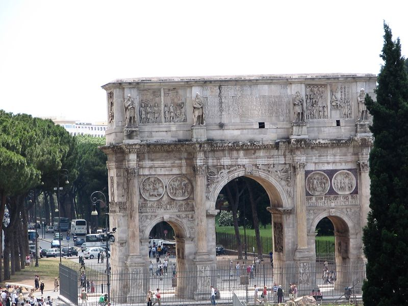 Arch of Constantine, next to the Colesseum. Erected to commemorate Constantine I's victory over Maxentius at the Battle of Milvian Bridge on October 28, 312 AD.