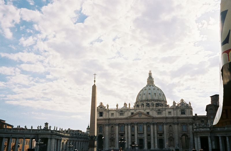 St. Peter's Basilica.<br /> <br /> The obelisk in the middle was also featued in the movie, Angels & Demons.