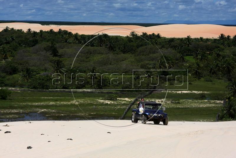 Tourists take a buggy tour near Jericoacoara in Brazil's northeastern Ceara state.(AUstralfoto/Douglas Engle)