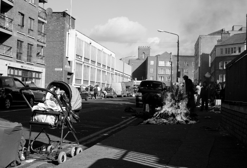 Street fire in the Ghetto. Dublin, Ireland