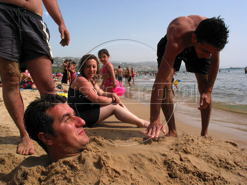 Lebanese enjoy the beach on the Mediterranean in Byblos, about 50 kilometers north of Beirut.(Australfoto/Douglas Engle)