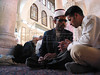 A young man gets advice from a Sheikh after the Friday prayer at the Umayyad Mosque in the old city of Damascus, Syria. The mosque is one of the most important buildings of Islam, after mosques in Mecca and Medina in Saudia Arabia.(Australfoto/Douglas Engle)