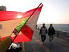 Beirutis walk along the Corniche by the Mediterranean Sea in Beirut, Lebanon. (Australfoto/Douglas Engle)