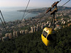 A cable car descends the mountain from Harissa to Jounie, just north of Beirut, Lebanon.(Australfoto/Douglas Engle)