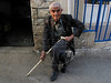 Isa Cascas, 99, sits outside his home in Michtei, Syria.(Australfoto/Douglas Engle)