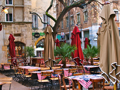 April 29, 2012. Outside cafe, Lyon, France.