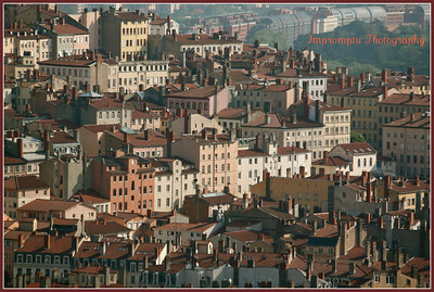 August 4, 2011.  Red-tiled roofs from Fourviere Hill. Lyon, France.