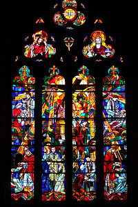 Church stained glass window. Tournon, France.