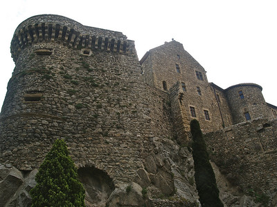 The walls of this feudal castle are very imposing. Tournon, France.