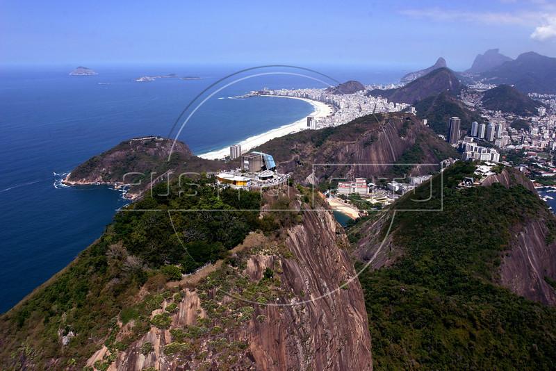 A view of the Sugarloaf mountain and  Copacabana beach, in Rio de Janeiro, Brazil. (Australfoto/Angelo Antonio Duarte)