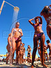 Beachgoers take a fresh water shower on Ipanema beach in Rio de Janeiro.<br /> (AustralFoto/Douglas Engle)