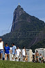 Rio de Janeiro residents enjoy a sunny sunday as they exercise on a cycle-path below the famous Christ the Redeemer statue in Rio de Janeiro, Sunday, April 3, 2005. Brazil is one of the largest Catholic nations of the world, with about 70 percent of the population who declares themselves Catholic.  The Christ statue, built in 1921 atop the 710 meter Corcovado mountain, can bee seen from most parts of the city.(AustralFoto/Douglas Engle)