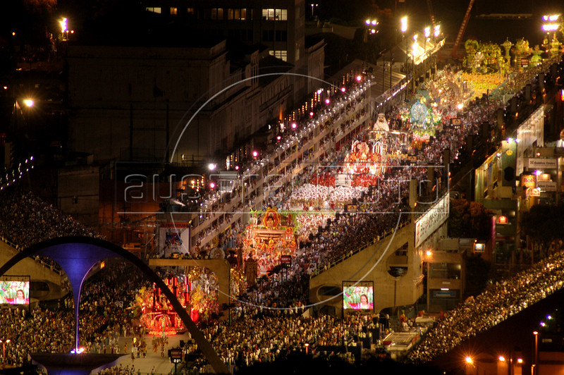 "The Salgueiro Samba school parades in the ""Sambodrome,"" a stadium built especially for carnival parades, in rio de Janeiro, Brazil, Feb. 22, 2004. (AustralFoto/Douglas Engle)"