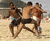 Boys play soccer on Ipanema beach of Rio de Janeiro. (AustralFoto/Douglas Engle)