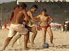 Boys play soccer on Ipanema beach of Rio de Janeiro.(AustralFoto/Douglas Engle)