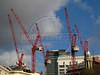 Construction cranes in London, United Kingdom. The city has many public and private work projects underway in preparation for the Olympic Games in 2012. (Australfoto/Douglas Engle)