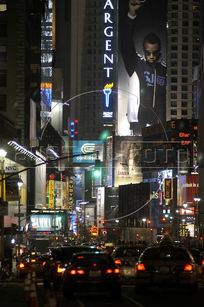 Traffic moves towards Times Square in Manhattan, New York City. Once known as Longacre Square, Times Square was named after the New York Times building nearby that became the cornerstone of the new district in 1904. It is the only zone in the city where tenants are required to display bright signs. (Australfoto/Douglas Engle)