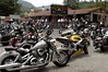 Motorcyclists gather at a restaurant in Lake Lure, North Carolina. Motorcycling has become hugely popular in the US, as sales of new bikes have more than doubled from 1990 to 2000.(Australfoto/Douglas Engle)