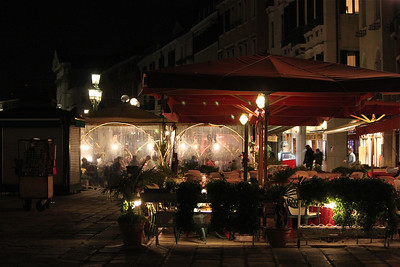 Restaurant at night. Venice, Italy.