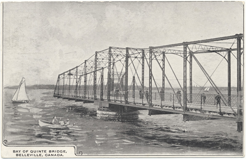 Postcard: Bay of Quinte Bridge from Belleville to Prince Edward County. Showing swing section in foreground.