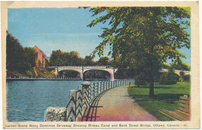 Postcad: Ottawa. Garden Scene along Dominion Driveway showing Rideau Canal and Bank Street Bridge. Unused. Excellent example of out of register colour printing.