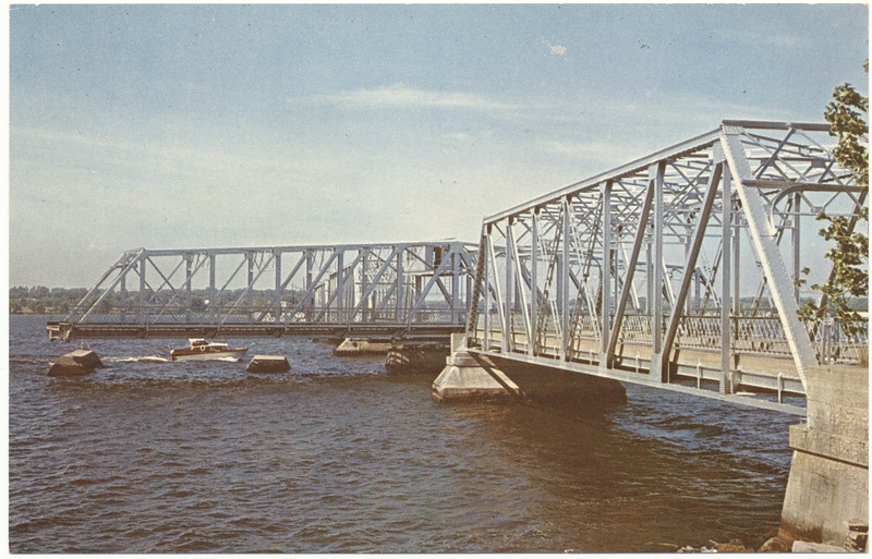 Postcard: Belleville, Ontario. The Swing Bridge over the Bay of Quinte. Showing bridge open for boats. Unused. Undated.