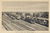 Postcard: T. & N. O. Freight yards, Englehart, Ontario. Mailed July 15, 1952. Mostly boxcars, one steam locomotive.<br /> Back of card has message to Mrs. Della Bradley of Warkworth, Ontario.