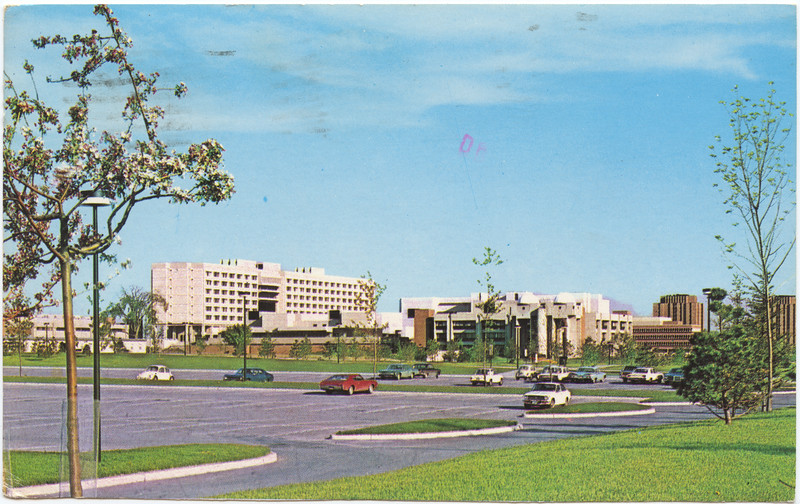 Postcard of York University mailed 1975 September 20 to Buffalo New York from Downsview Ontario. Image from northwest towards science buildings, Ross, Osgoode, grad residences. Damage to lower left of card, some markings on front. Damage minimized in this scan.