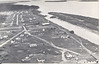 Postcard Moose Factory aerial picture looking downriver from Hudsons Bay Company store, photo by J. Sproat