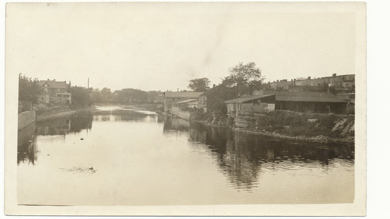 Photograph: Belleville Ontario. Looking up the Moira River from Bridge Street towards old footbridge.