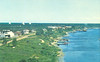 Moosonee, aerial shoreline view showing radar domes.