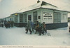 "Postcard: ""Ontario Northland Railway Station, Moosonee, Ontario"". Photo: R. B. Currie. Back: ""Moosonee, Ontario, Canada. O.N.R. Station down north at end of rail."" Wm. R. Forder Souvenirs. Card creased and has greenish cast."