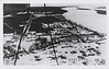 Postcard, Moosonee, aerial, high contrast, view down river