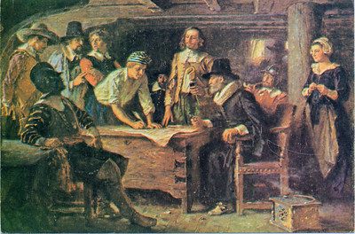 Signing the Mayflower Compact, reproduction card, 1972