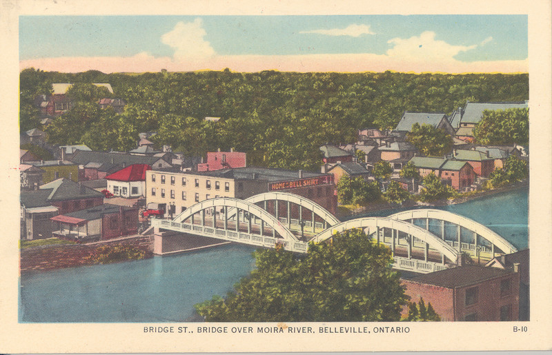 Postcard of Bridge Street bridge over the Moira River in Belleville, Ontario mailed with King George VI two cent stamp and marked 2 cents due, date not clear