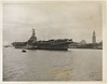 Associated Press photograph of Canadian aircraft carrier HMCS Magnificent at Boston 1951 April 23rd.
