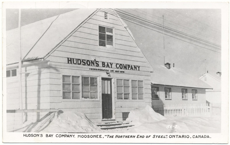 Postcard: Moosonee. Hudson Bay Company Store. Mailed September 6, 1963 to Little Falls, New Jersey. Front