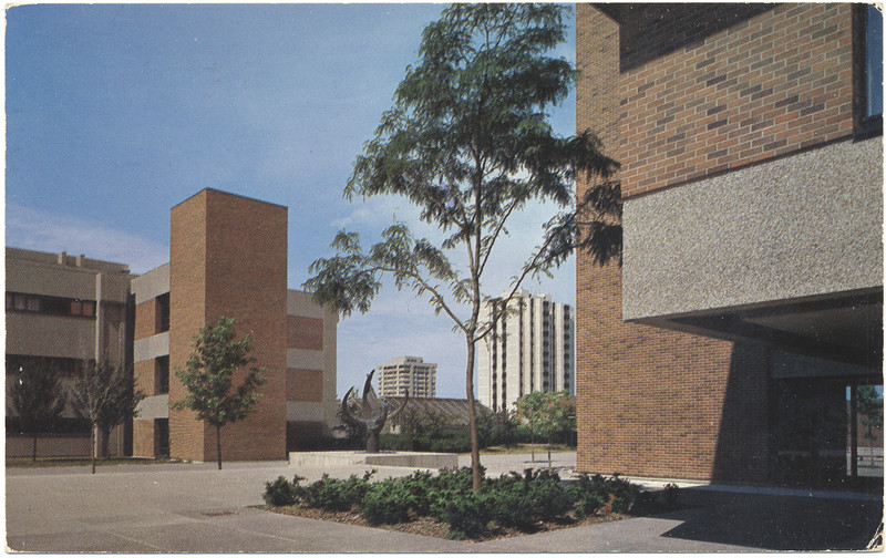 Postcard York University Toronto View Of McLaughlin And Vanier Residences Between Corners