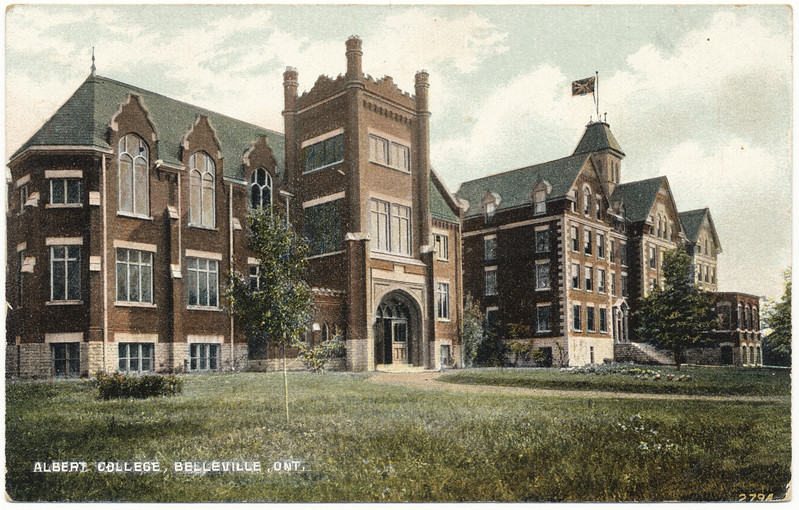 Postcard: Albert College, Belleville, Ontario. Massey Hall and residence when located on College Street East (near North Front Street). Mailed 1909 Sepember 21st to Miss Mamie Kells,Queensboro Ontario. Front.