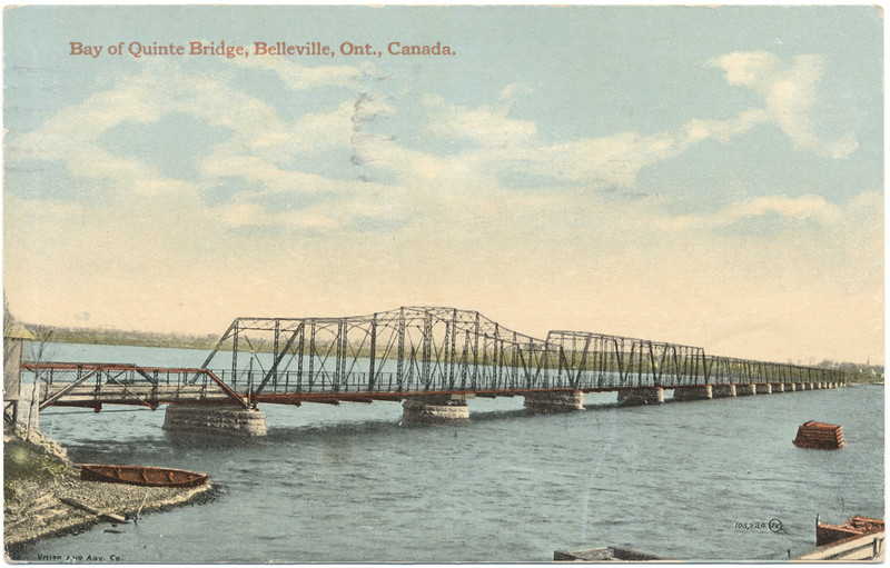Postcard: Belleville, Ontario colour Bay of Quinte bridge from Rossmore mailed 1921 to Frankford, Ontario.