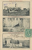 """Postcard: Three views of Fort Albany: """"Primitive Saw Mill"""", """"Silver Fox in captivity"""", """"Building canvas canoe"""" Front stamped Mar 7 - 1911 and bears one cent Canada stamp. Rear addressed to Mademoiselle Nella Borgognini, Via San Gallo 72, Firenze, Italie. Return address J. N. G. Rouleau, Ville de Saint-Tite,Canada, Mar 7 - 1911."""